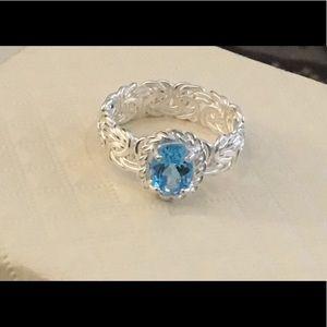 1.25 Ct. Oval Blue Topaz Byzantine Band Ring Sz 8
